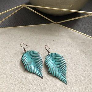 Boho metal leaf earrings